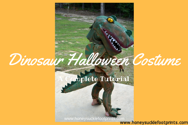 Dinosaur costume handmade for halloween honeysuckle footprints diy homemade foam dinosaur costume for halloween solutioingenieria Image collections