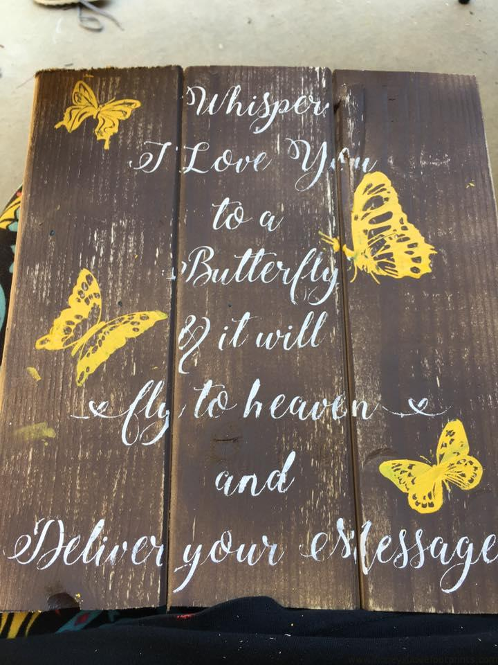 Pallet Signs Part - 23: Butterfly Pallet Sign - DIY - In Memory Wood Signs